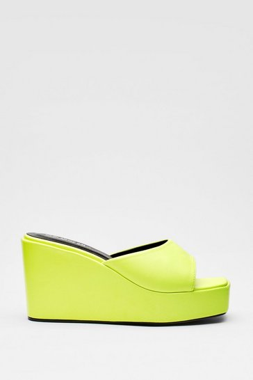 Lime Faux Leather Square Toe Wedge Mules