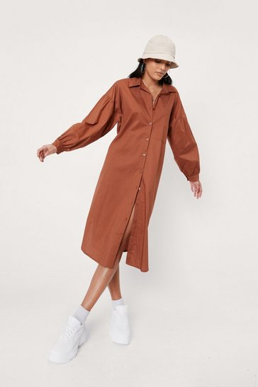 Rust Puff Sleeve Cotton Poplin Midi Shirt Dress