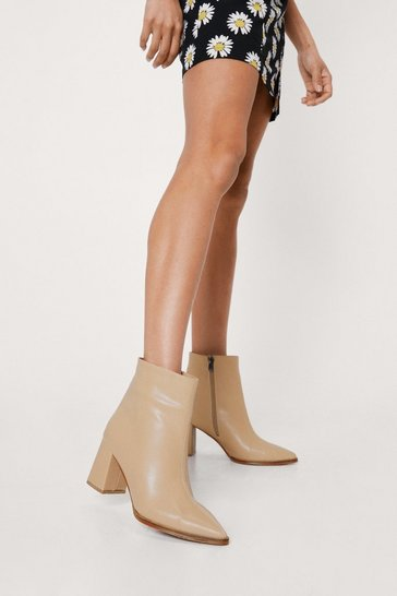 Beige Faux Leather Pointed Toe Heeled Ankle Boots