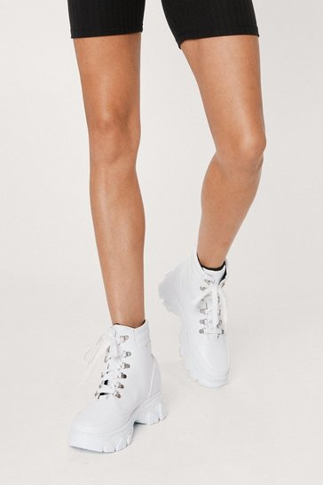 White Faux Leather Cleated High Ankle Sneakers