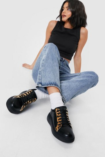 Black Faux Leather Leopard Round Toe Chunky Sneakers