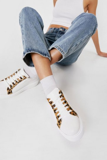 White Faux Leather Leopard Round Toe Chunky Sneakers