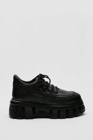 Black Faux Leather Chunky Cleated Lace Up Sneakers