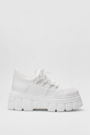 White Faux Leather Chunky Cleated Lace Up Sneakers