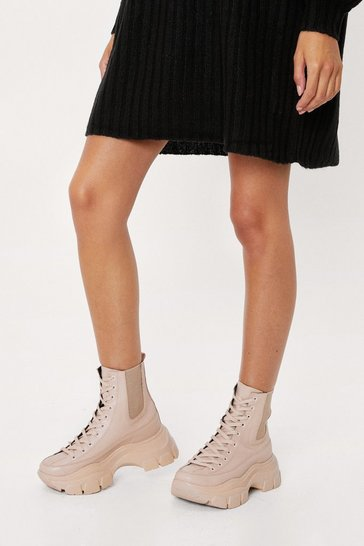 Light beige Faux Leather Chunky High Ankle Sneakers