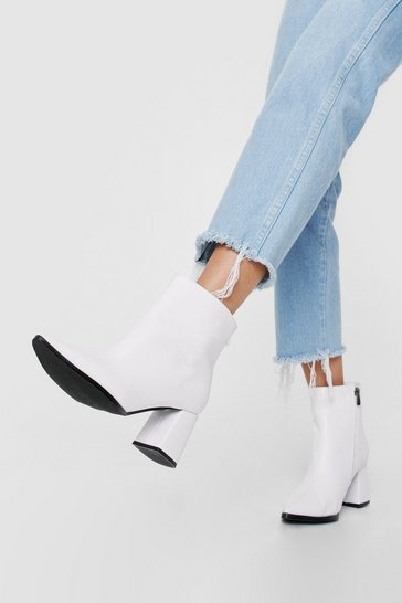 Faux Leather Pointed Toe Block Heel Ankle Boots, White