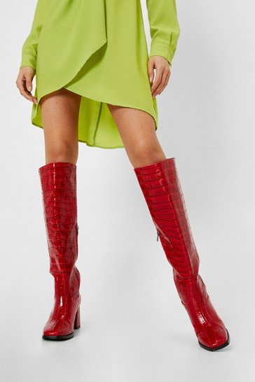 Red Patent Faux Leather Croc Knee High Boots