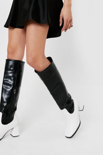 Black Faux Leather Square Toe Two Tone Knee High Boots