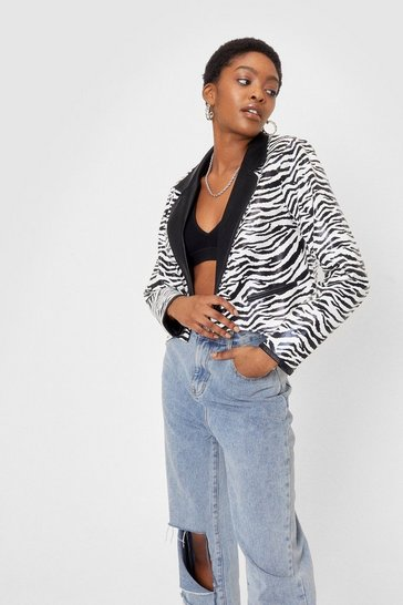 Black Faux Leather Zebra Print Cropped Blazer
