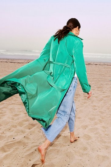 Green Slinky Longline Belted Trench Coat