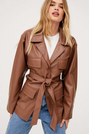 Tan Oversized Belted Faux Leather Jacket