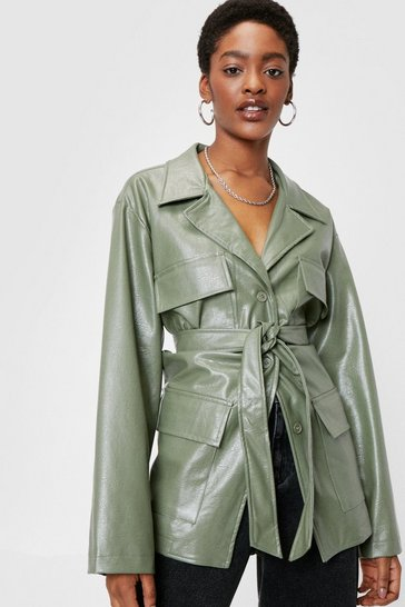 Sage Patent Faux Leather Longline Belted Jacket
