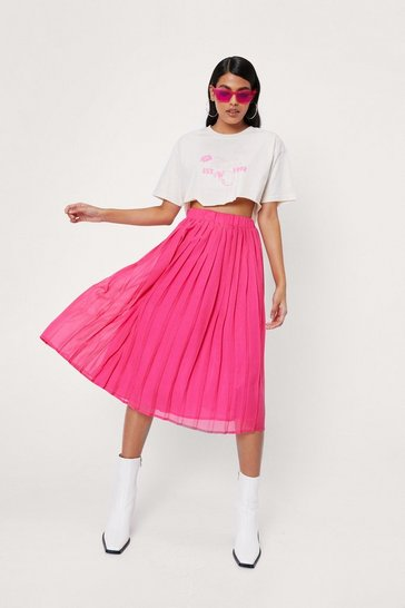 Hot pink High Waisted Chiffon Pleated Midi Skirt