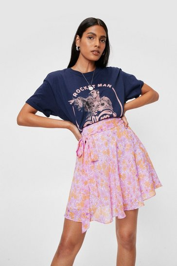 Lilac Chiffon Floral Belted Mini Skirt