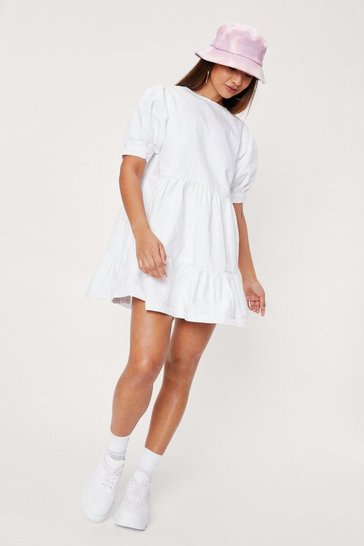 White Puff Sleeve Denim Mini Smock Dress