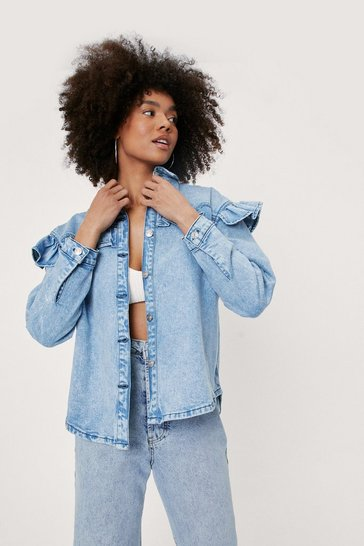 Light blue Oversized Ruffle Long Sleeve Denim Shirt