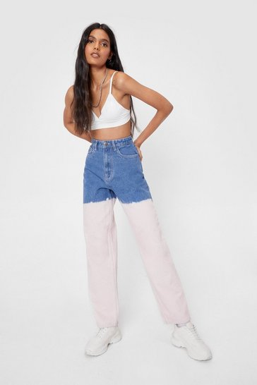 Pale pink Dip Dye High Waisted Straight Leg Jeans