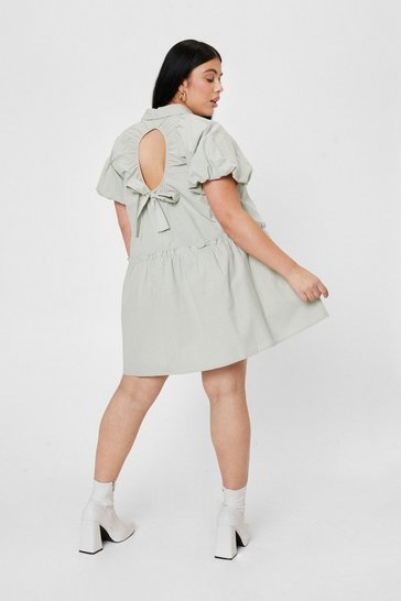 Sage Plus Size Puff Sleeve Open Back Mini Dress