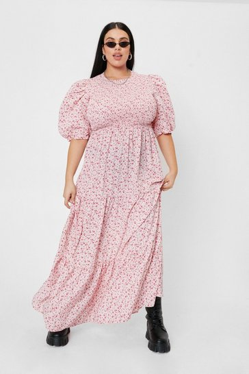 Pink Plus Size Floral Print Puff Sleeve Maxi Dress