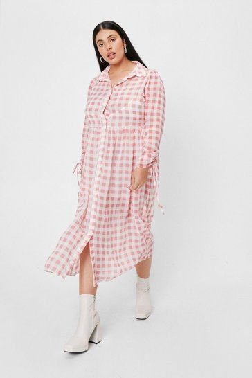 Pink Plus Size Gingham Print Shirt Dress