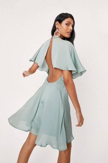 Sage Chiffon Open Back V Neck Mini Dress