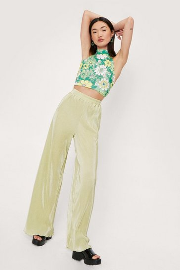 Lime Plisse High Waisted Wide Leg Side Pocket Pants