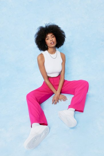 Fuchsia Tailored High Waisted Wide Leg Pants