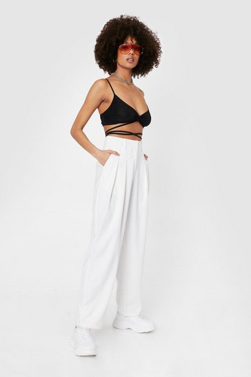 Ivory Tailored High Waisted Wide Leg Pants