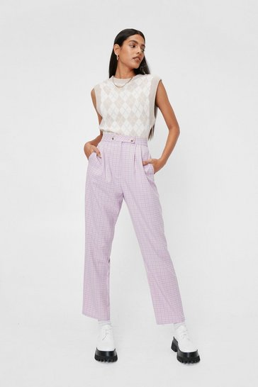 Lilac Check Print High Waisted Tapered Pants