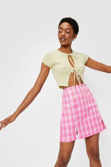 Candy pink High Waisted Plaid Slit Mini Skirt