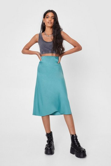 Abyss green Satin High Waisted Bias Cut Midi Skirt