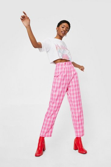 Candy pink Check High Waisted Wide Leg Trousers