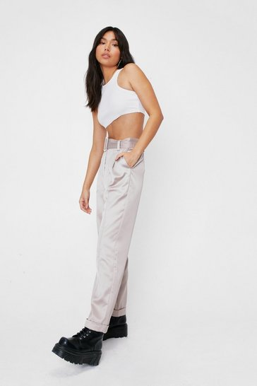Satin High Waisted Belted Pants, Light grey