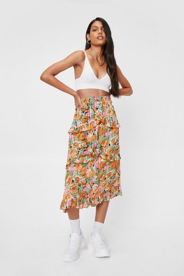 Multi Floral Pleated Ruffle Midi Skirt