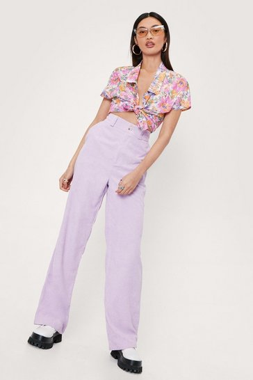 Lilac High Waisted Corduroy Straight Leg Pants