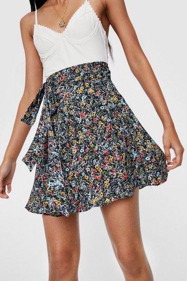 Multi High Waisted Ditsy Print Belted Mini Skirt