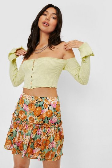 Multi Floral Pleated Mini Skirt