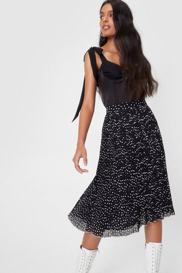 Black Chiffon High Waisted Pleated Spotty Midi Skirt