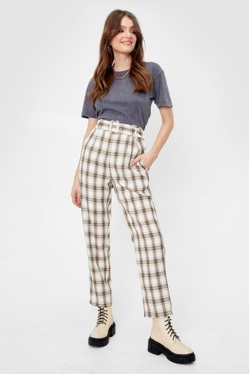 Ivory Check Used to It Belted Tapered Trousers