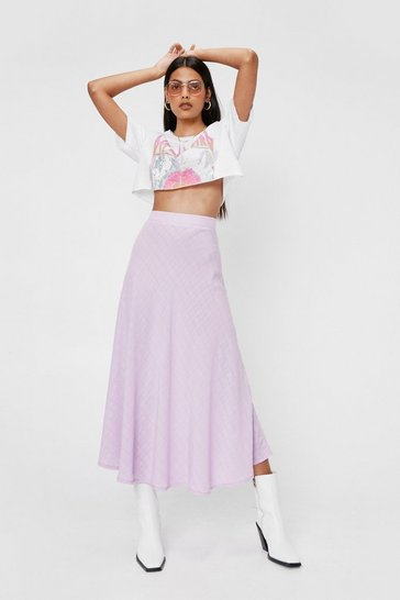 Bright lilac Jacqaurd High Waisted Midi Skirt