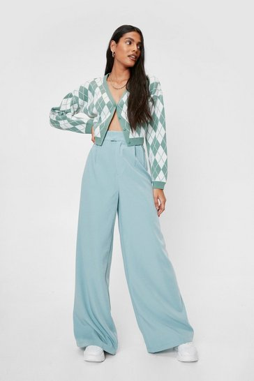 Abyss green High Waisted Tailored Wide Leg Pants