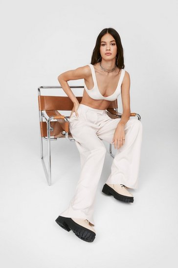 Ecru High Waisted Tailored Wide Leg Pants