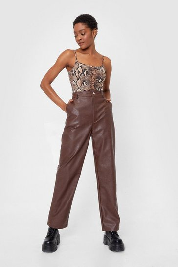 Chocolate See and Be Seam High-Waisted Faux Leather Pants