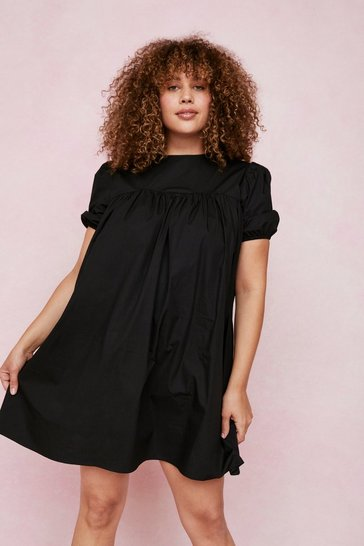 Black Plus Size Crew Neck Puff Sleeve Mini Dress