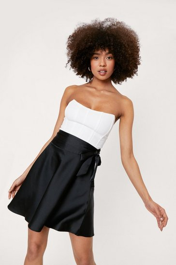 Black Satin Tie Belt Mini Skirt