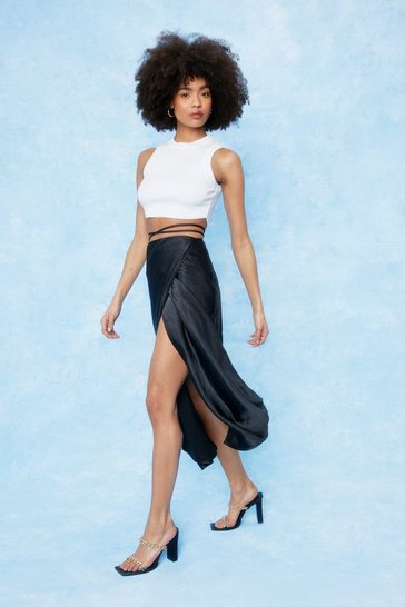 Black Strappy Satin High Waisted Midi Skirt