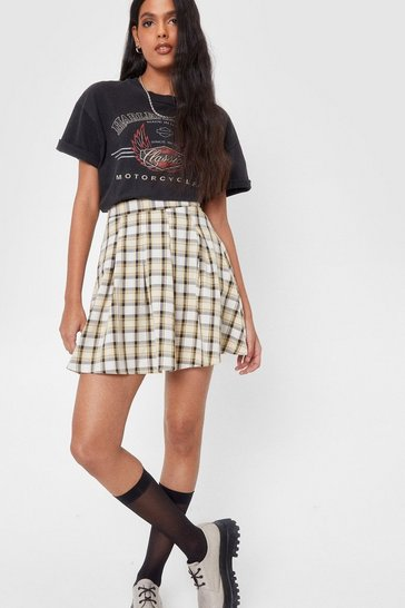 Ivory High Waisted Pleated Check Mini Skirt