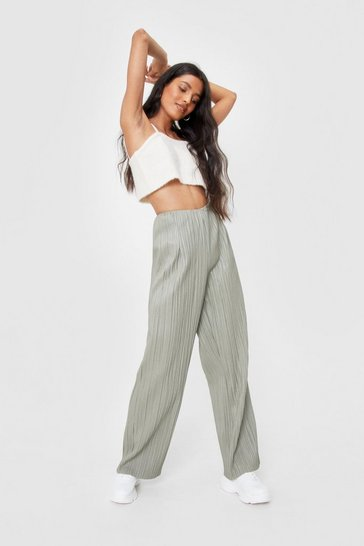 Khaki Plisse Love Me Do Faux Leather Wide-Leg Pants