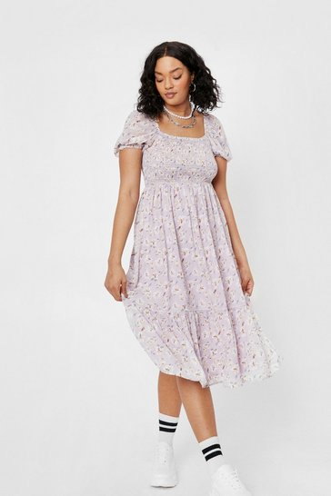 Lilac Plus Size Square Neck Puff Sleeve Midi Dress