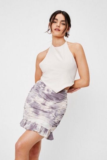 Tie Dye Print Ruched Mini Skirt, Mono